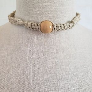 Blonde Wood Bead Woven Hemp Choker Necklace